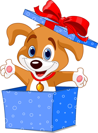 Cute little puppy springen uit een cadeauverpakking Stock Illustratie