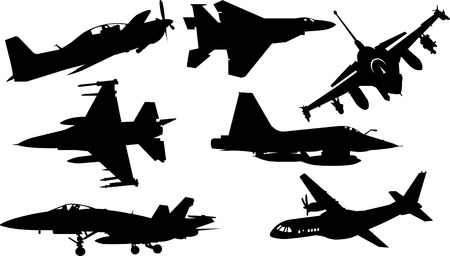 A collection of military planes silhouettes from different angles Иллюстрация