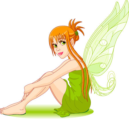 redhair: Illustration of a sitting young fairy. Stage   in different layer, can be removed easily when needed.