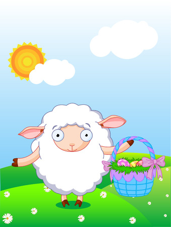 Cute lamb holding Easter basket in the field with blue sky and sun background Vector