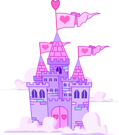 Vector Illustration of a Fairy Tale Princess Castle in the sky.  向量圖像