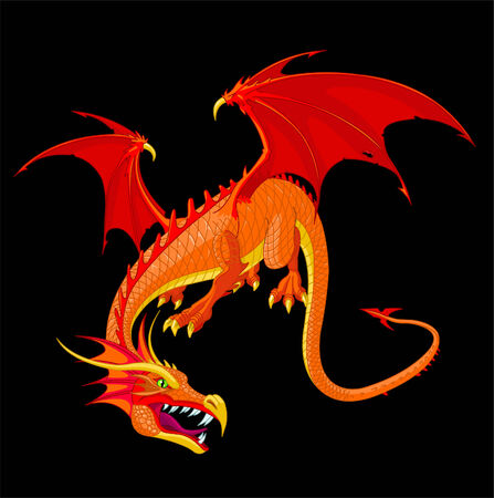 A detailed red flying dragon vector illustration