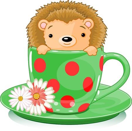 紅茶のカップでかわいいハリネズミ。ベクトル イラスト