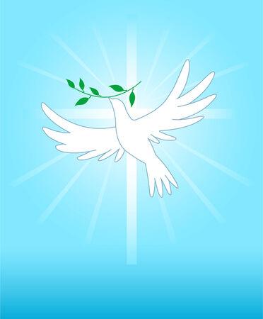 paloma: Palomas de la paz en la cruz de fondo. Todos los elementos se agrupan convenientemente Vectores
