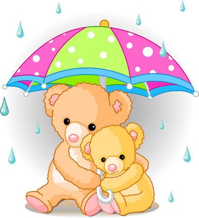 두 귀여운 테 디 베어 우산을 들고입니다. 벡터