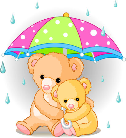 Two cute Teddy bears carrying  umbrella. Vector