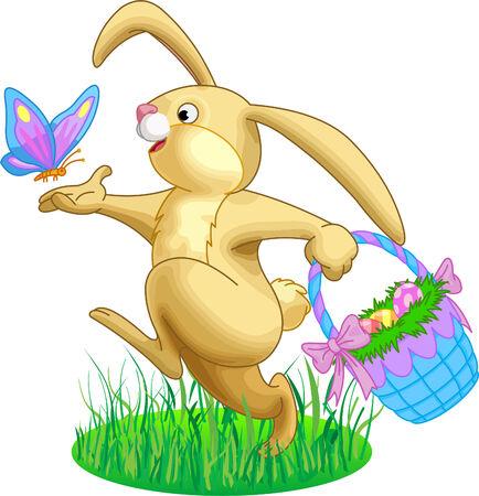 Afbeelding van konijnen met een mand vol van eieren en vlinder Stock Illustratie