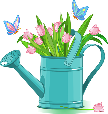formal garden: Watering can with bouquet of tulips