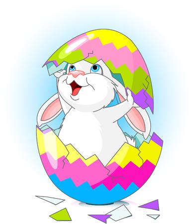 uovo rotto: Coniglio di Pasqua che salta fuori da uovo rotto Vettoriali