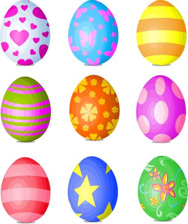 Nine fine painted eggs designed for Easter Ilustração