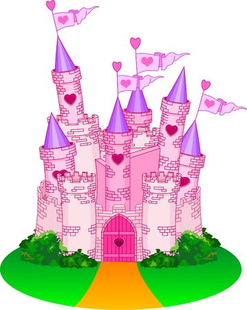 princess castle: Vector Illustration of a Fairy Tale Princess Castle