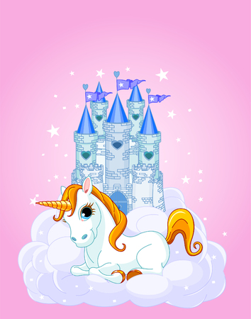 Vector Illustration of a Fairy Tale Castle and Unicorn. All layers are separated Vector