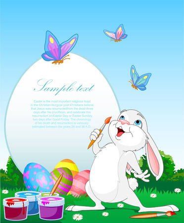 easter bunny: Illustration of an Easter Bunny painting Easter Eggs. Perfect for your Easter Greeting