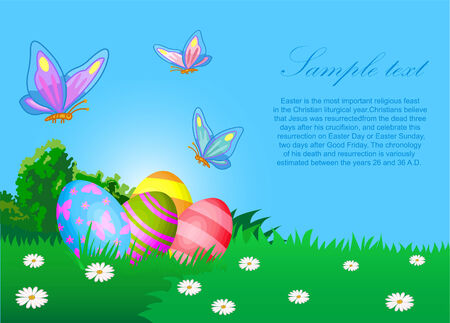 primrose: The vector illustration contains the image of Easter eggs and butterflies