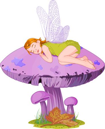 Little cute fairy elf sleeping on mushroom