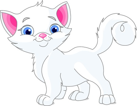 Vector illustration of cute white kitten Illustration