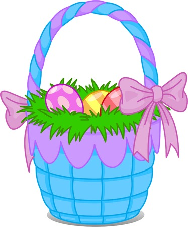 Beautiful Easter basket with eggs Vector