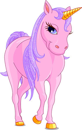 Vector Illustration of walking cute pink Unicorn. Vector