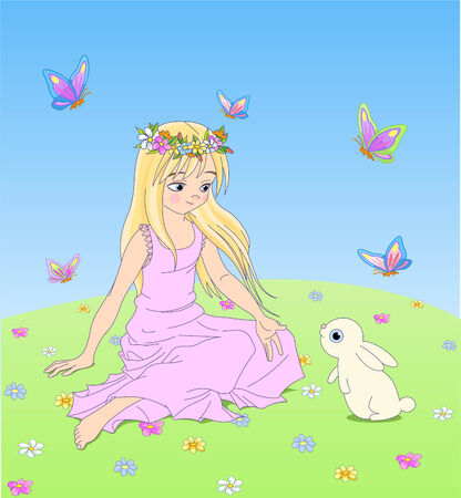 Cute girl sitting on the meadow with bunny. Vector