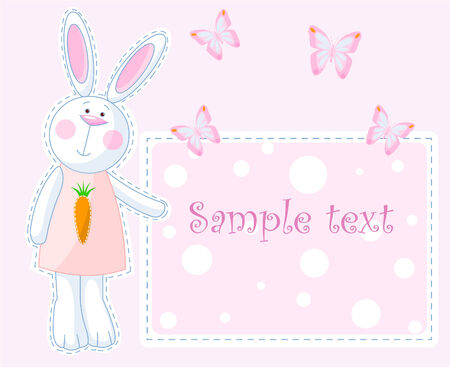 butterfly background: Cute bunny pointing on the greeting card  Illustration