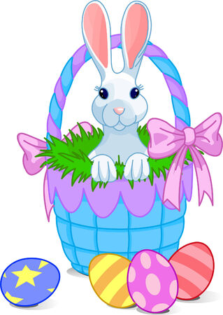 Pretty Easter basket with cute bunny. Vector Stock Vector - 4528393