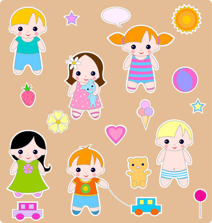baby girl: Beautiful set of children and toys. All images are separated Illustration
