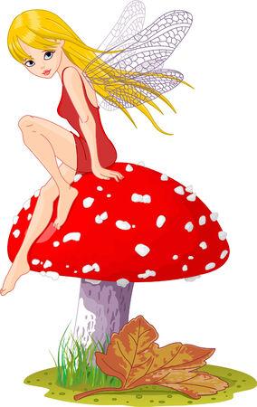 princess frog: Dulce hada elfo sentado en fly-agaric. Vector