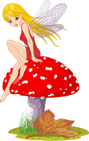 cute fairy: Sweet  fairy elf sitting on fly-agaric. Vector