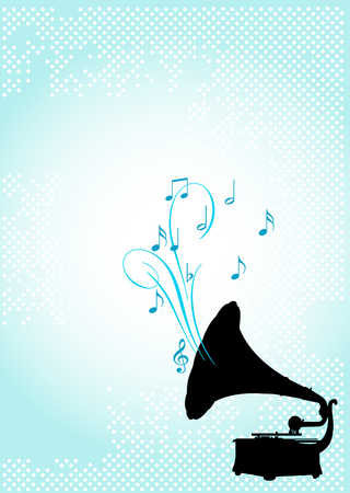 Design of gramophone, on abstract background