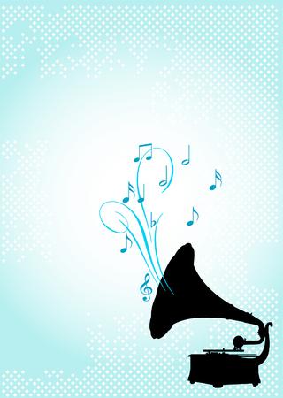 Ontwerp van gramophone, op abstracte achtergrond