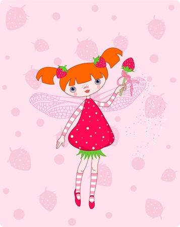 ピンクの背景に飛んでかわいいイチゴの妖精  イラスト・ベクター素材