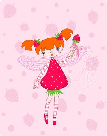 fee zauberstab: Cute Erdbeere Fee fliegt auf rosa Hintergrund Illustration