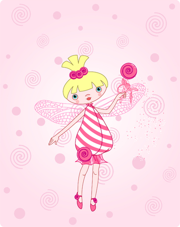 Cute candy fairy flying on pink background Illustration