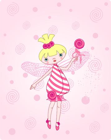 Cute snoep fairy vliegen op roze achtergrond