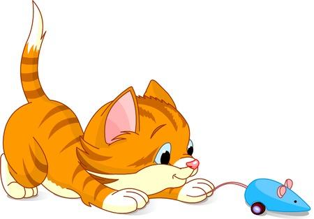 Afbeelding van kitten te spelen met speelgoed muis