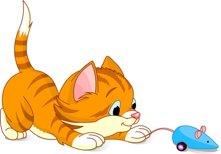 Image of kitten playing with toy mouse Illustration