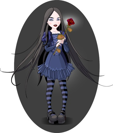 Goth stile girl holding withered rose. Background is separate. Ilustracja