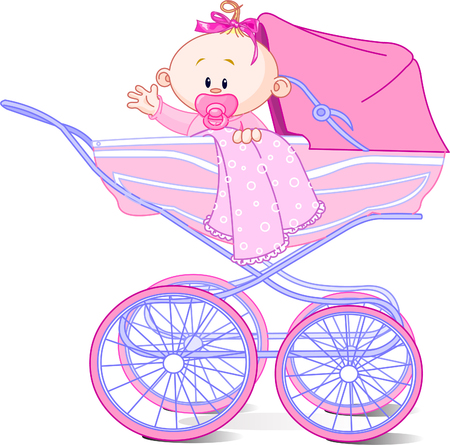 waiving: Baby girl sitting in carriage and waiving hello Illustration