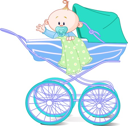 waiving: Baby boy sitting in carriage and waiving hello