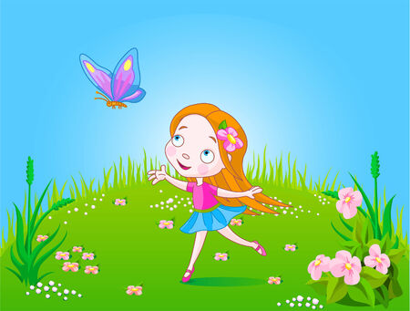 Little cute girl trying to catch an butterfly  Vector