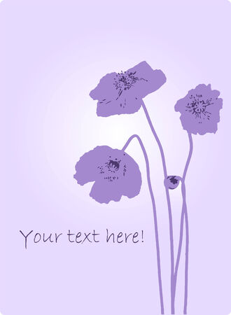 Poppy flower composition. Space for copytext. Vector