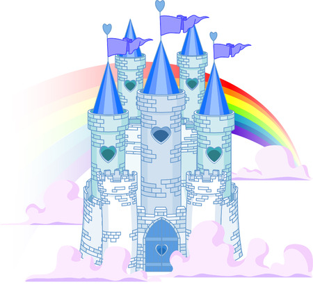 Vector Illustration of a Fairy Tale Princess Castle in the sky. Vector