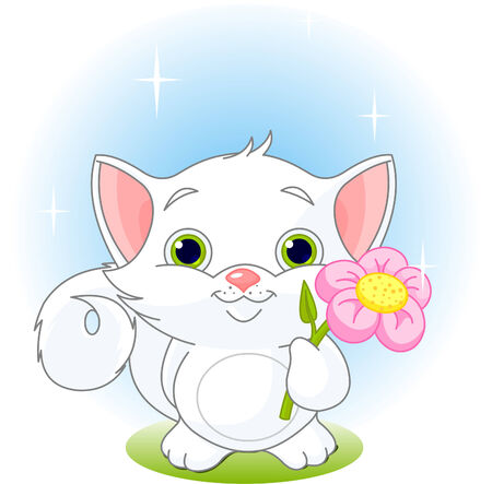 with illustration: White kitten holding flower. Vector illustration