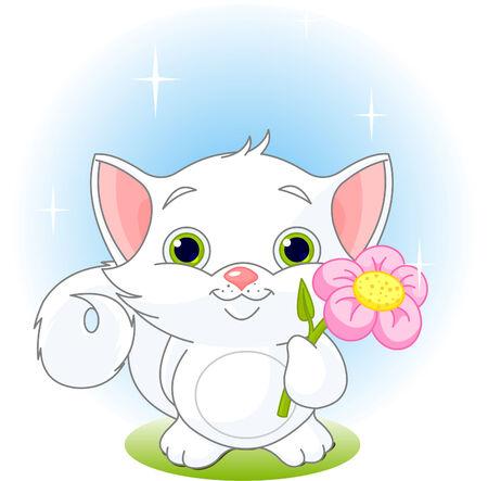 Witte kitten bedrijf bloem. Vector illustration