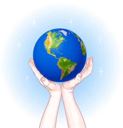 Hands holding the Globe. Day of the Earth Vector