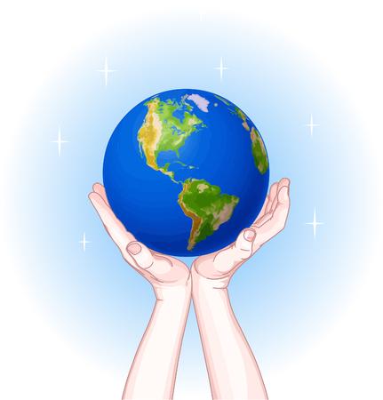 earth in hand: Manos la celebraci�n de la Globo. D�a de la Tierra Vectores