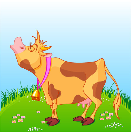 cow bells: Vector illustration of cute cow at sunny meadow.