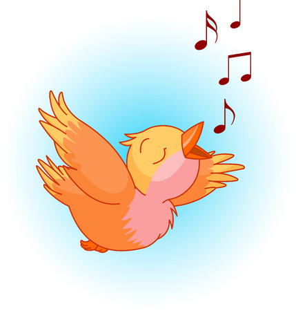 birdsong: Bird singing a song in the sky. Can be used for spring or summer time design.