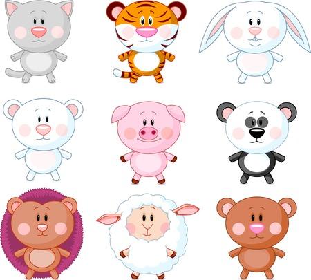 ovejita bebe: Animales de dibujos animados conjunto. Vector Vectores