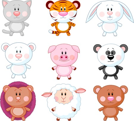 Cute animals cartoon set. Vector